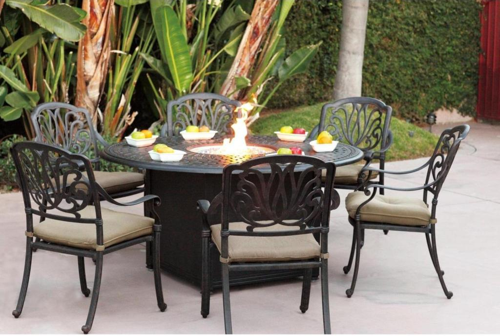 Image of: Round Outdoor Firepit Table
