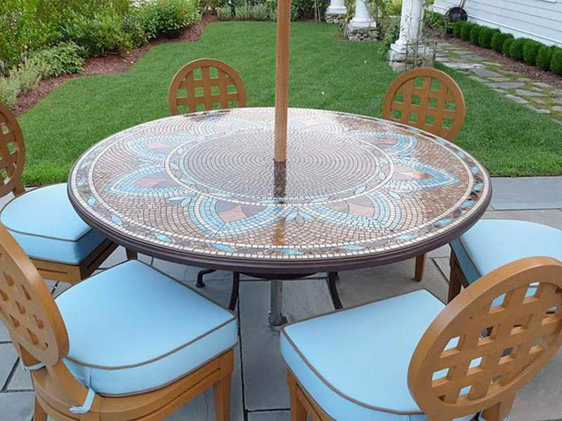 Picture of: Round Patio Table with Umbrella Hole