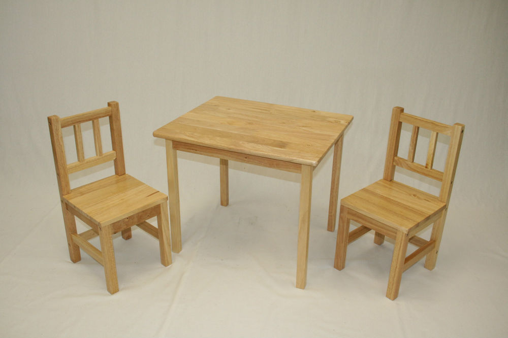 Picture of: Rustic Childrens Wooden Table and Chairs