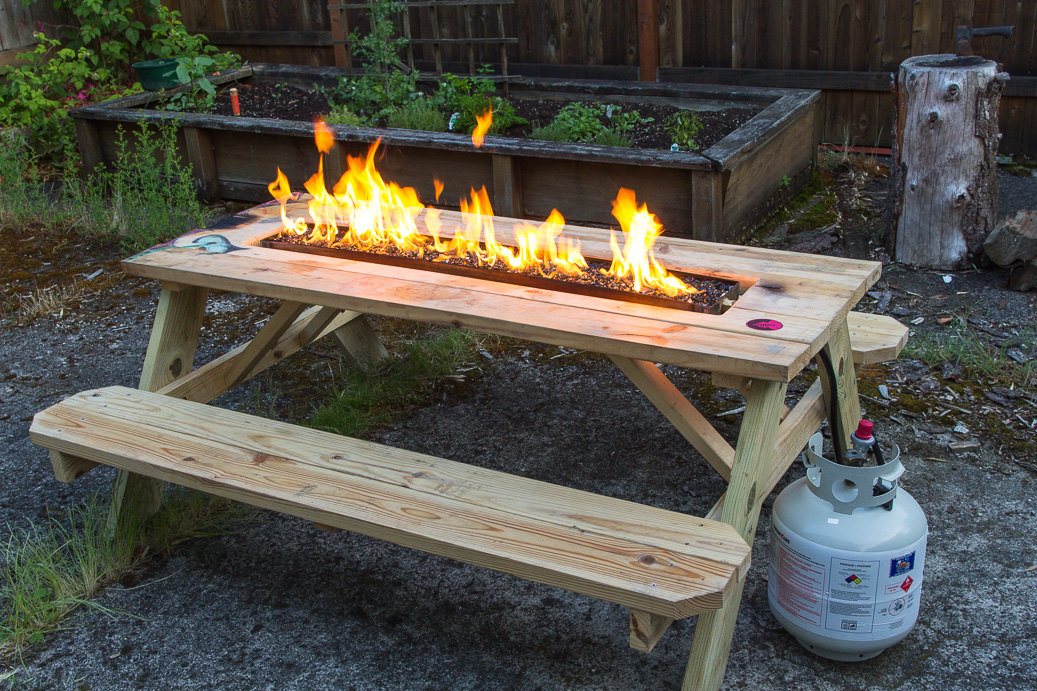 Rustic Outdoor Firepit Table