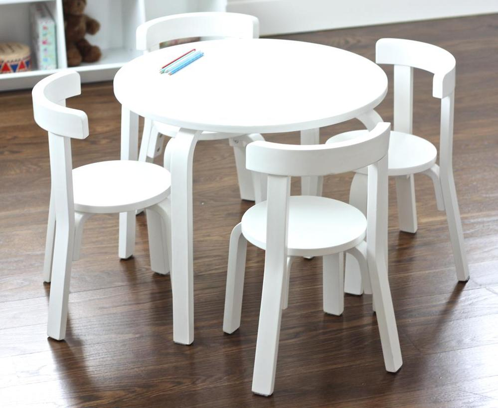 Image of: Stylish Childrens Wooden Table and Chairs