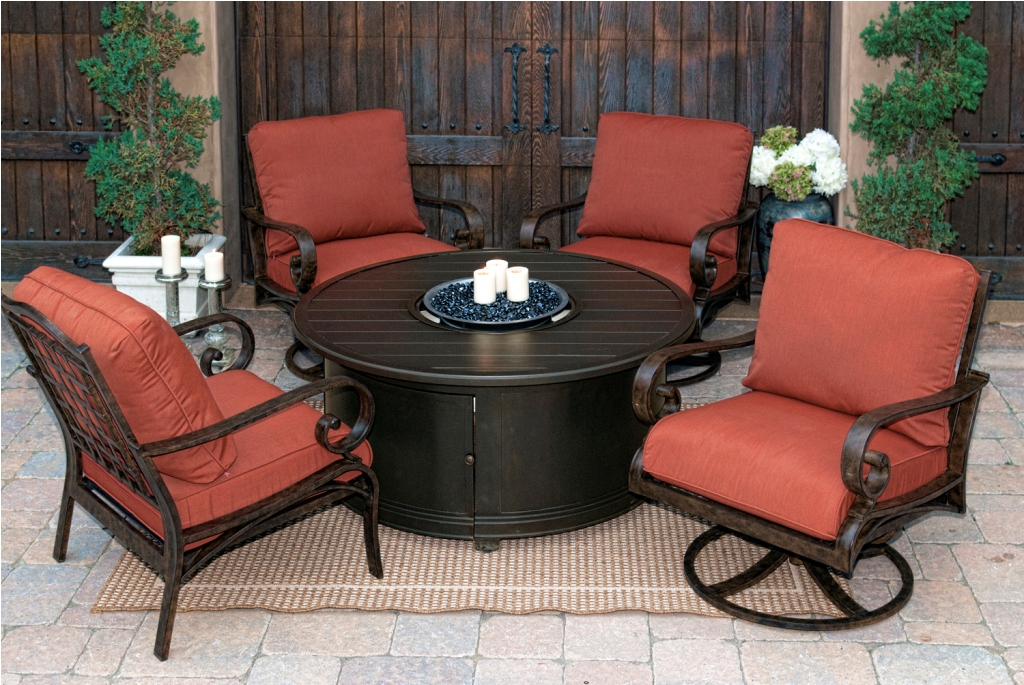 Picture of: Traditional Patio Furniture with Fire Pit Table and Chairs