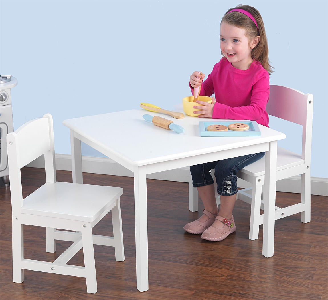 Picture of: White Childrens Wooden Table and Chairs