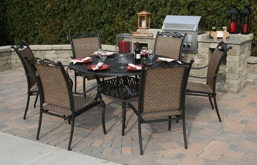 Image of: Wrough Iron Oval Patio Table