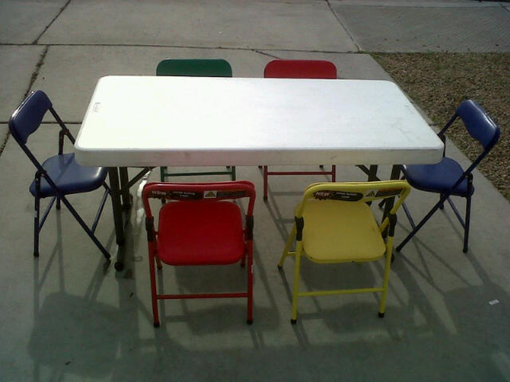 Picture of: Yellow Children Folding Table and Chairs