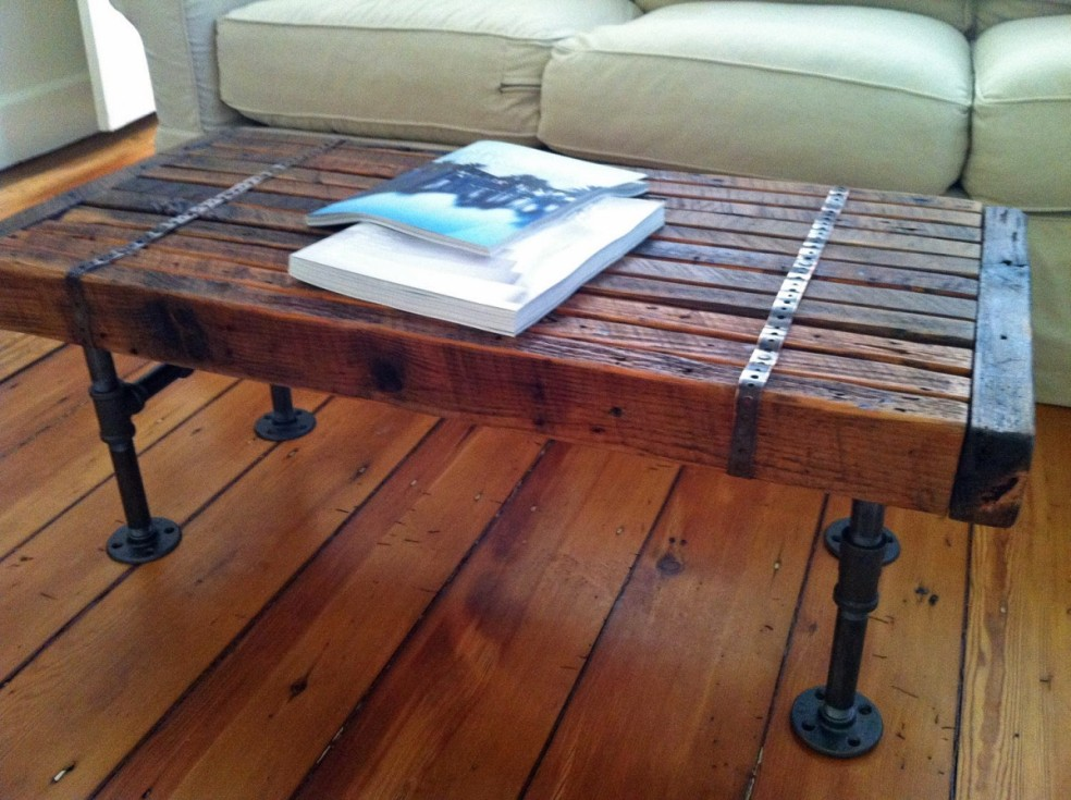 Image of: Amazing Wood Coffee Table with Metal Leg