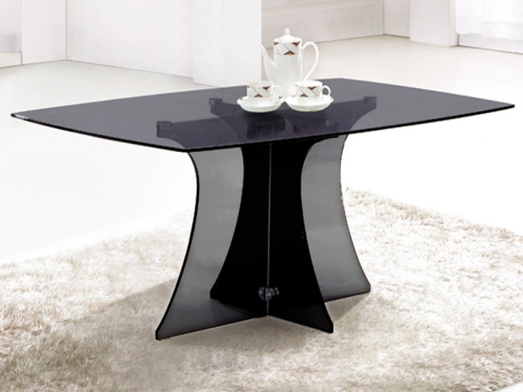 Picture of: Black Glass Rectangular Dining Table