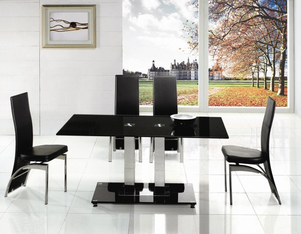 Picture of: Black Glass and Chrome Dining Table