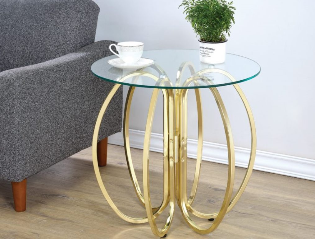 Image of: Brass and Glass Accent Table