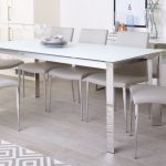 Brushed Glass And Chrome Dining Table