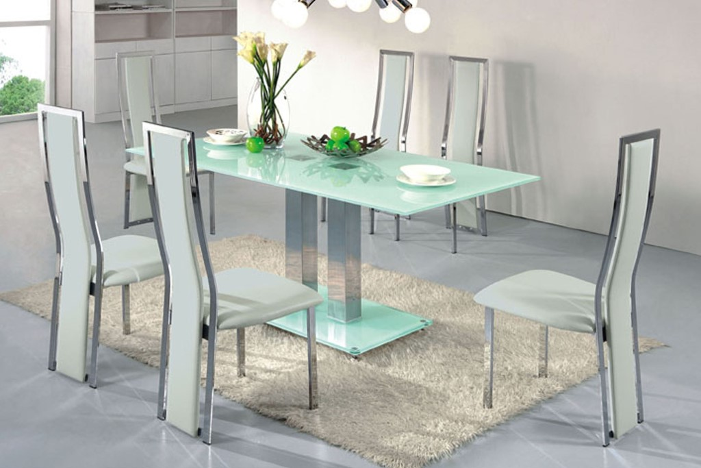 Picture of: Contemporary Glass and Chrome Dining Table
