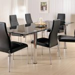 Dark Glass And Chrome Dining Table