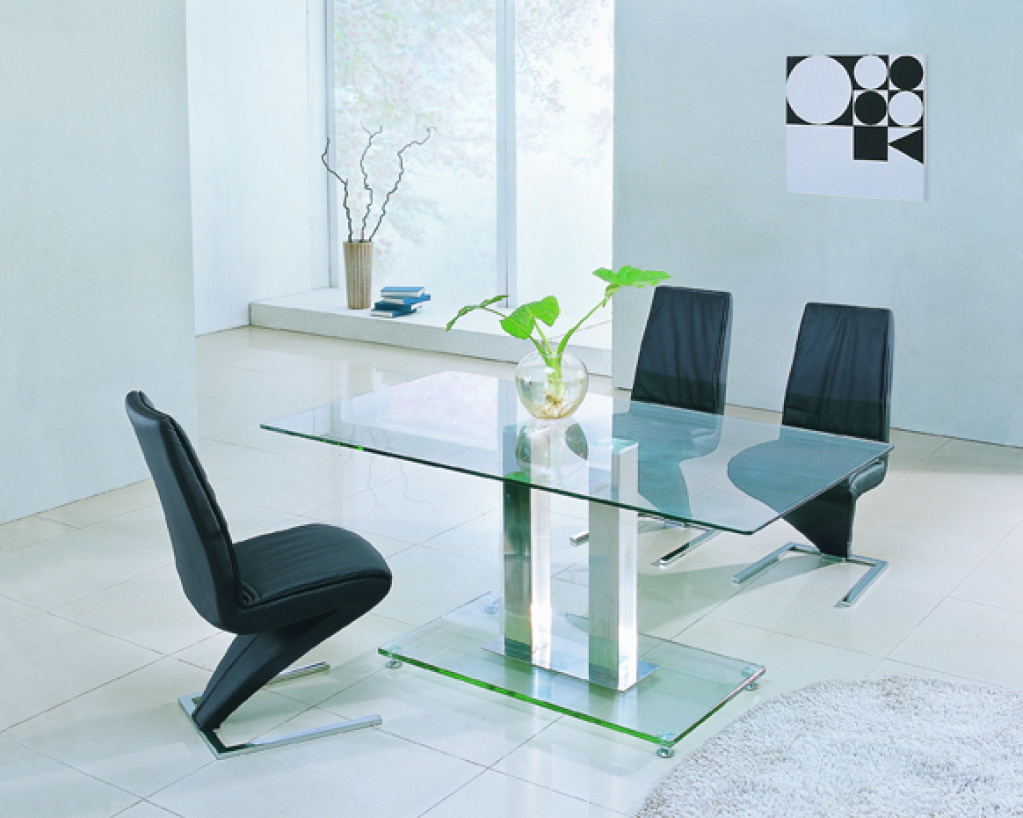 Picture of: Glass Breakfast Table Small Chrome