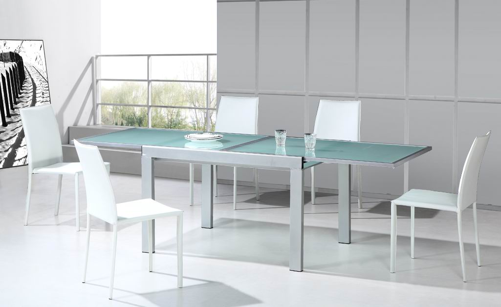 Picture of: Glass Breakfast Table With Extensions