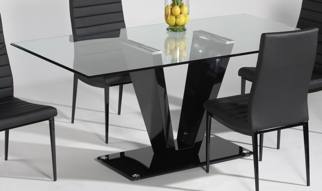 Image of: Glass Rectangular Dining Table Set