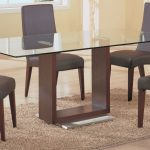 Glass Rectangular Dining Table Wood Base