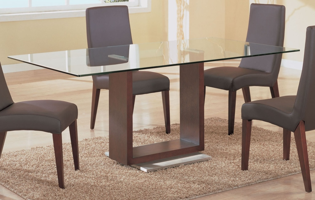 Picture of: Glass Rectangular Dining Table Wood Base