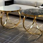 High Glass And Metal End Tables