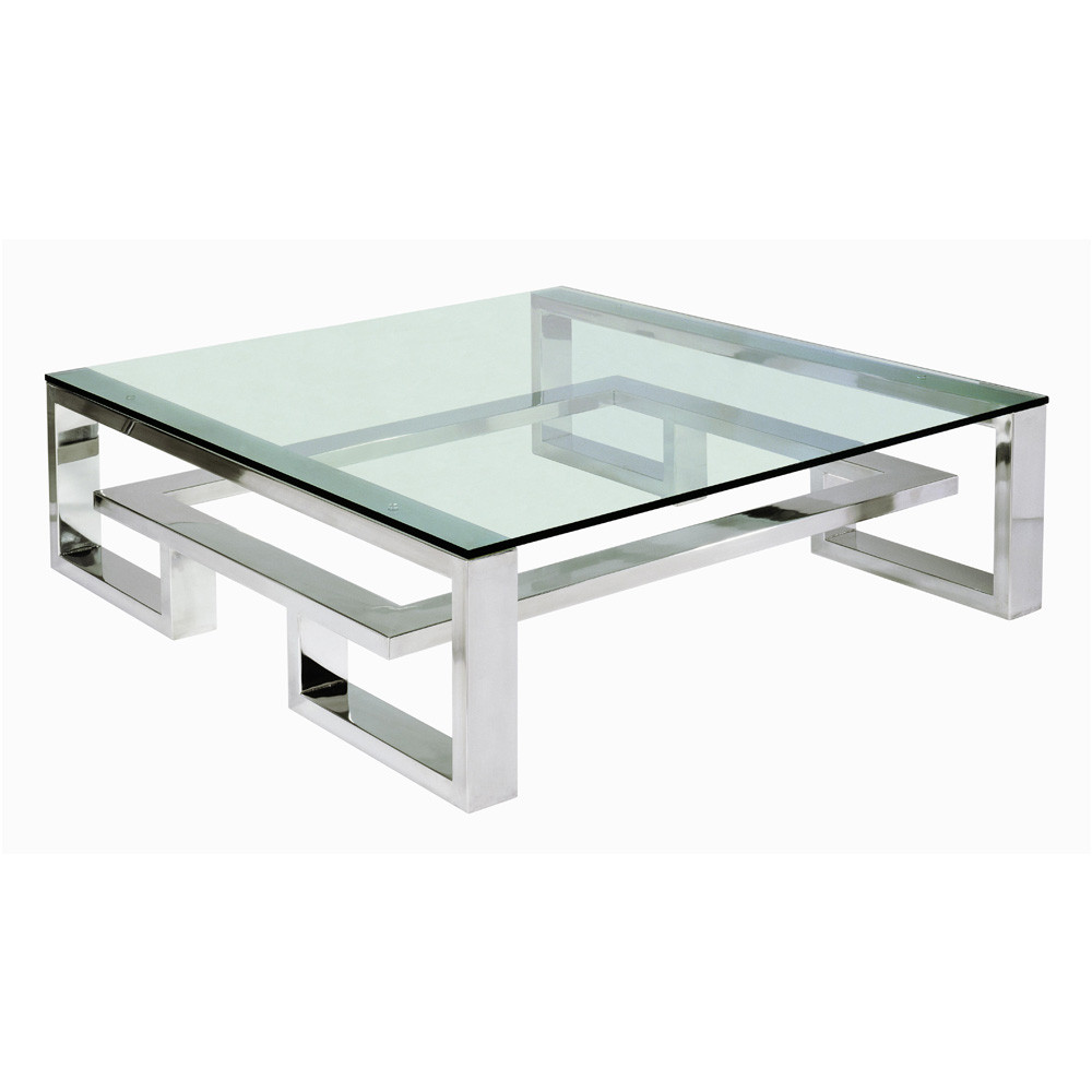Picture of: Iron Modern Glass Coffee Table