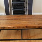 Large Wood Coffee Table With Metal Leg