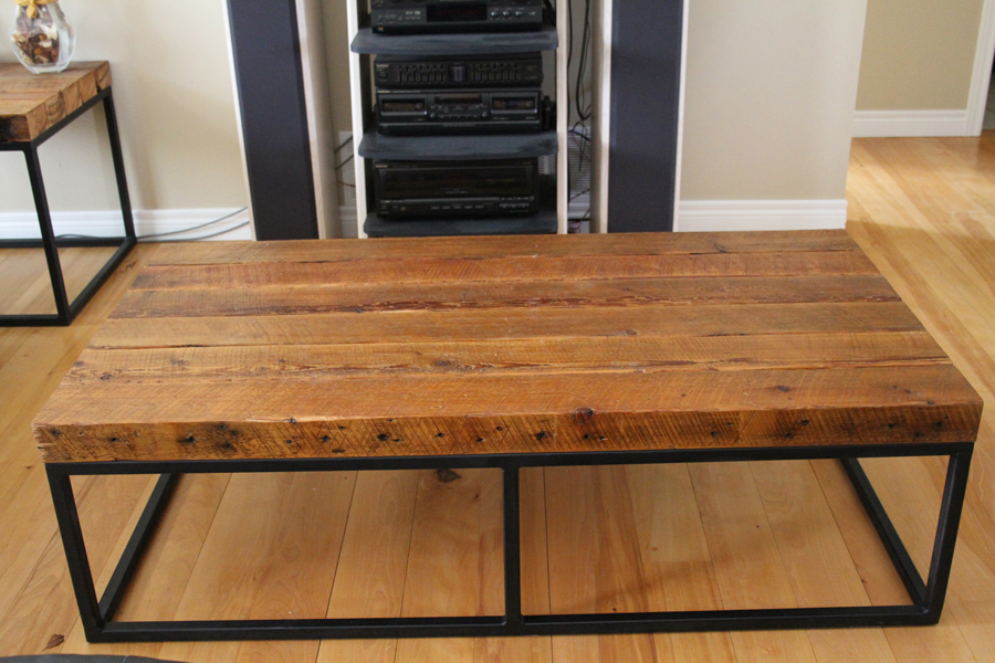 Picture of: Large Wood Coffee Table with Metal Leg