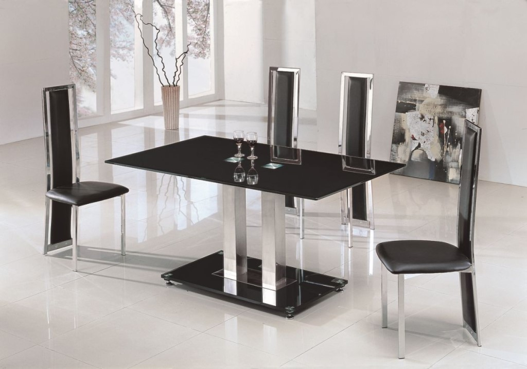 Picture of: Metal and Glass Rectangular Dining Table