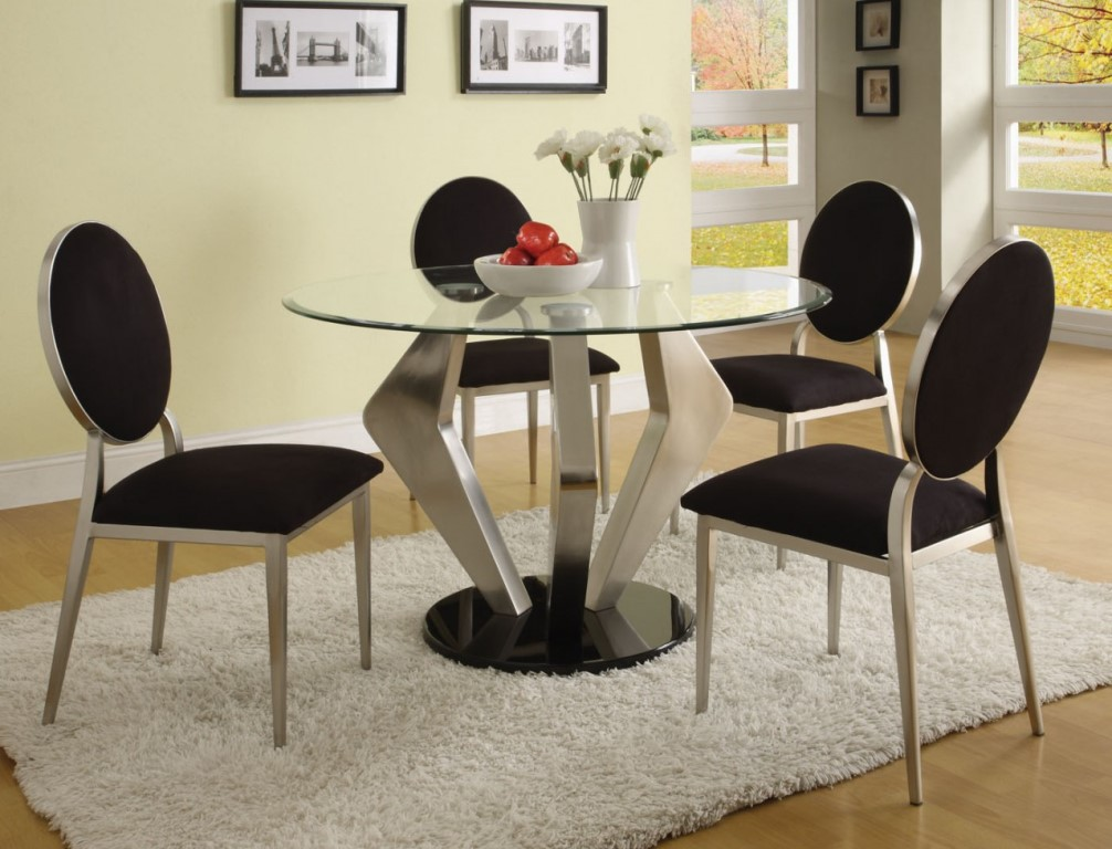 Picture of: Modern Glass and Chrome Dining Table