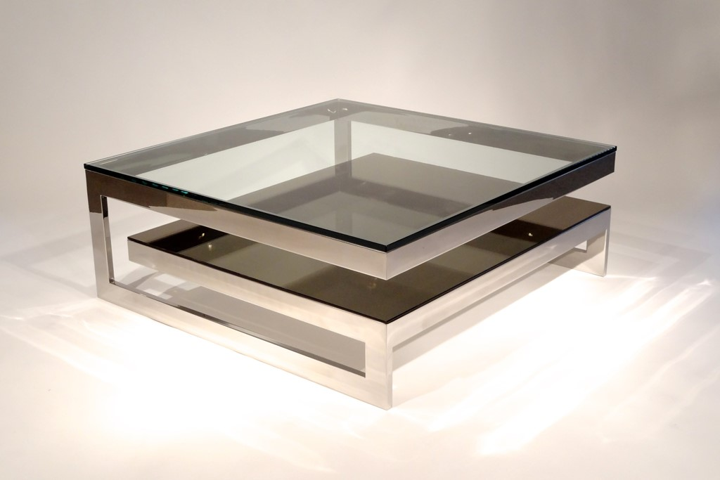 Picture of: Modern Glass and Metal End Table