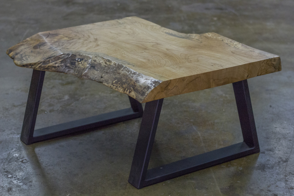Natural Wood Coffee Table With Metal Leg