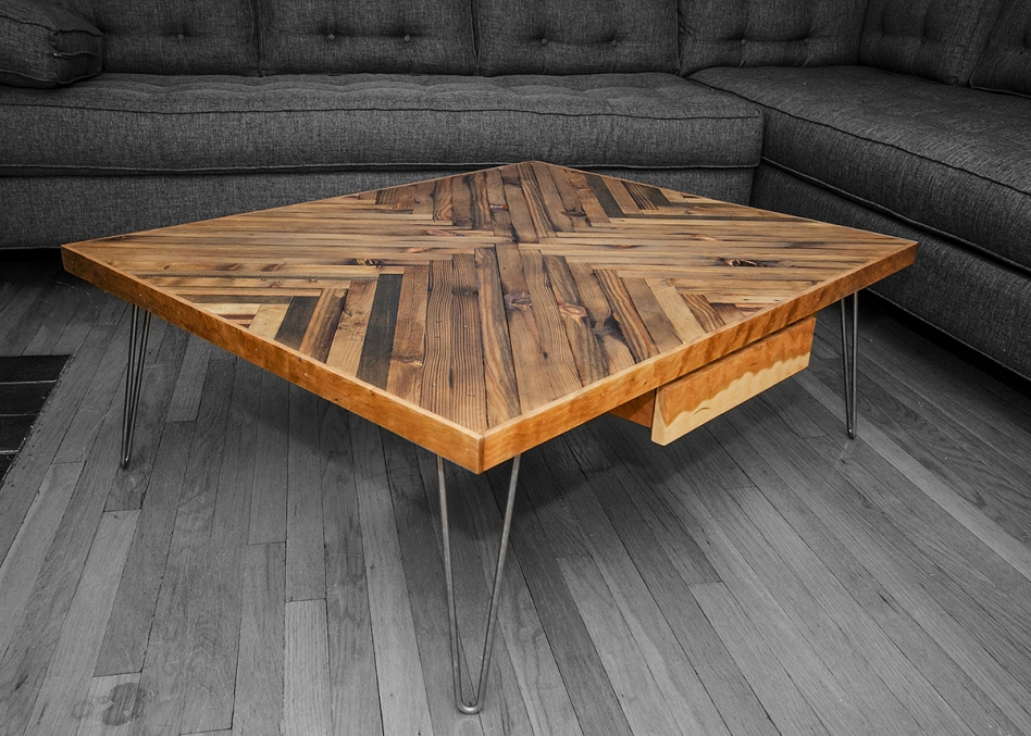 Image of: Nice Wood Coffee Table with Metal Leg