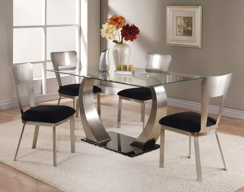 Picture of: Rectangular Glass Top Dining Table with Metal Base