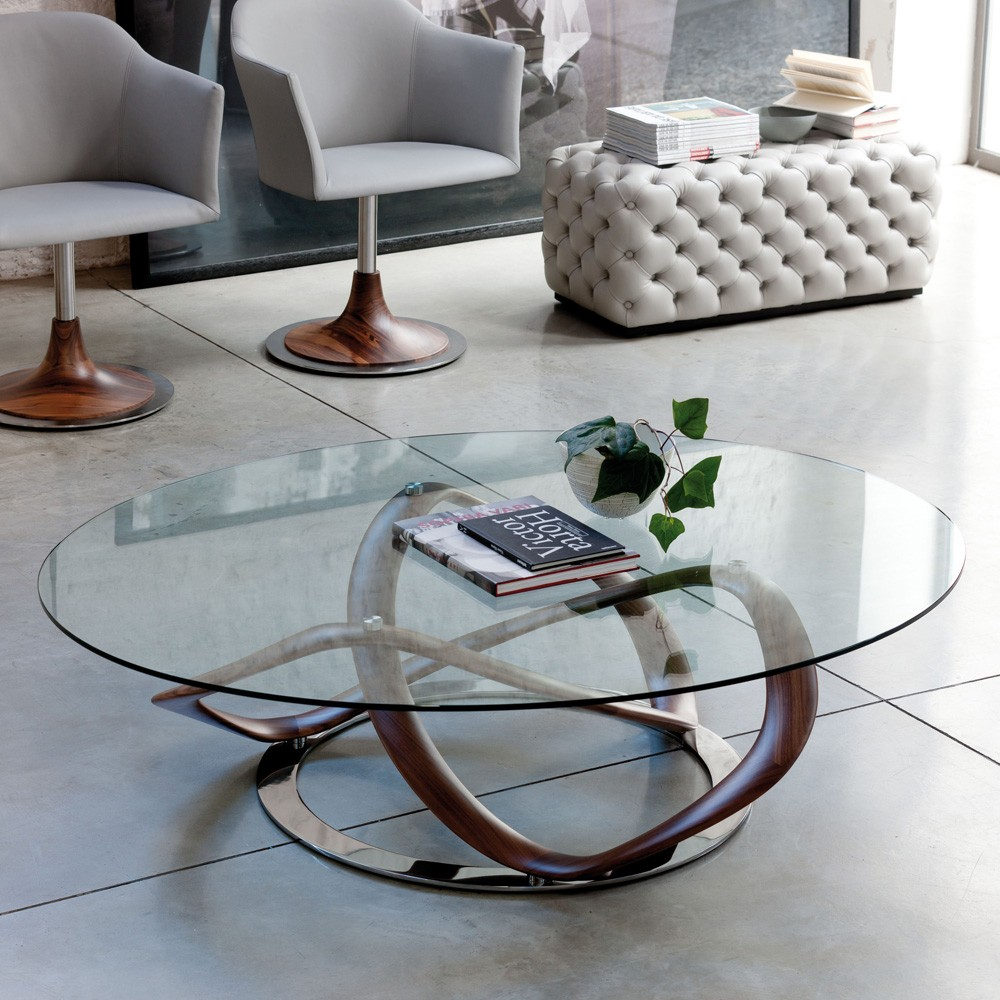 Image of: Round Modern Glass Coffee Table