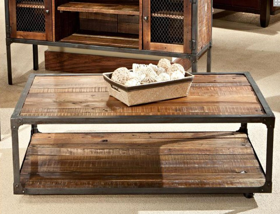 Image of: Rustic Wood Coffee Table with Metal Leg
