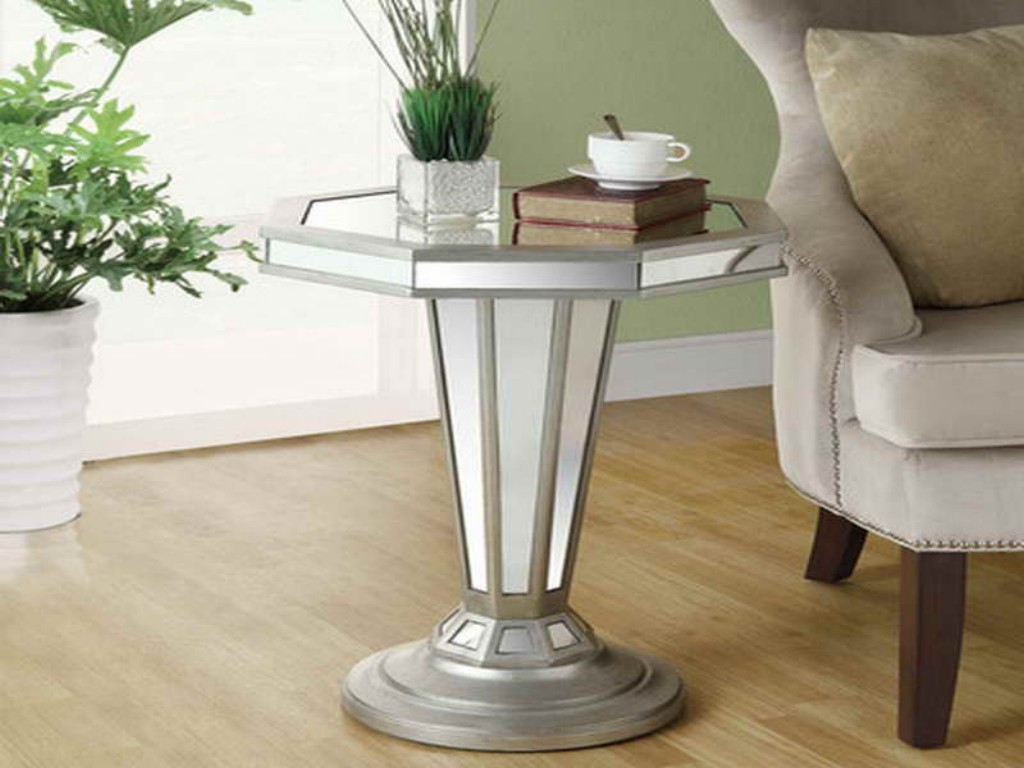 Image of: Silver and Glass Accent Table