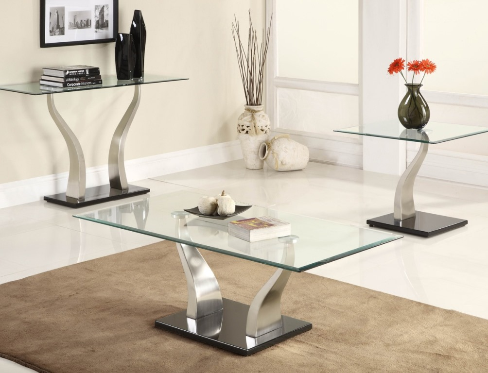 Picture of: Square Glass and Metal End Tables
