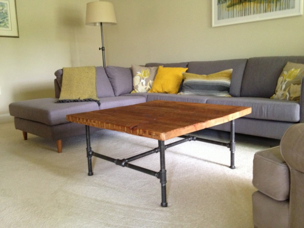 Image of: Top Wood Coffee Table with Metal Leg