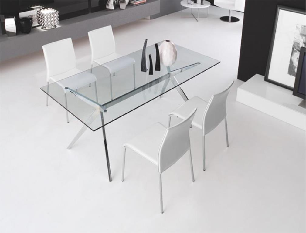 Picture of: White Glass and Chrome Dining Table