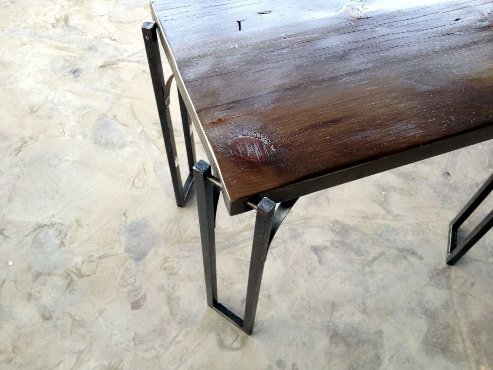 Wood Coffee Table With Metal Leg Design
