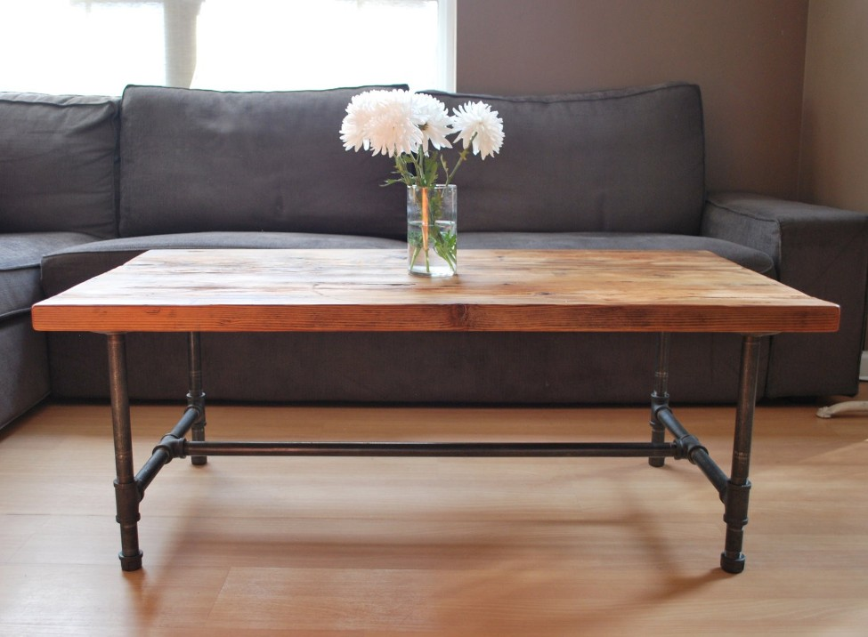 Picture of: Wood Coffee Table with Metal Leg Ideas
