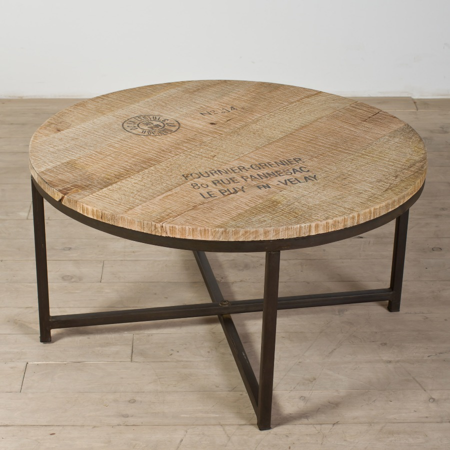 Wood Coffee Table with Metal Leg Plan