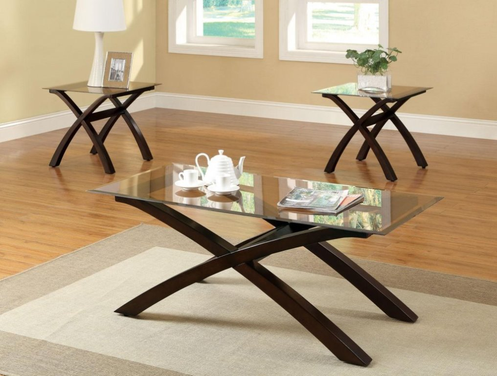 Picture of: Wood Glass and Metal End Tables