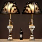 Maroon And Brass Table Lamps