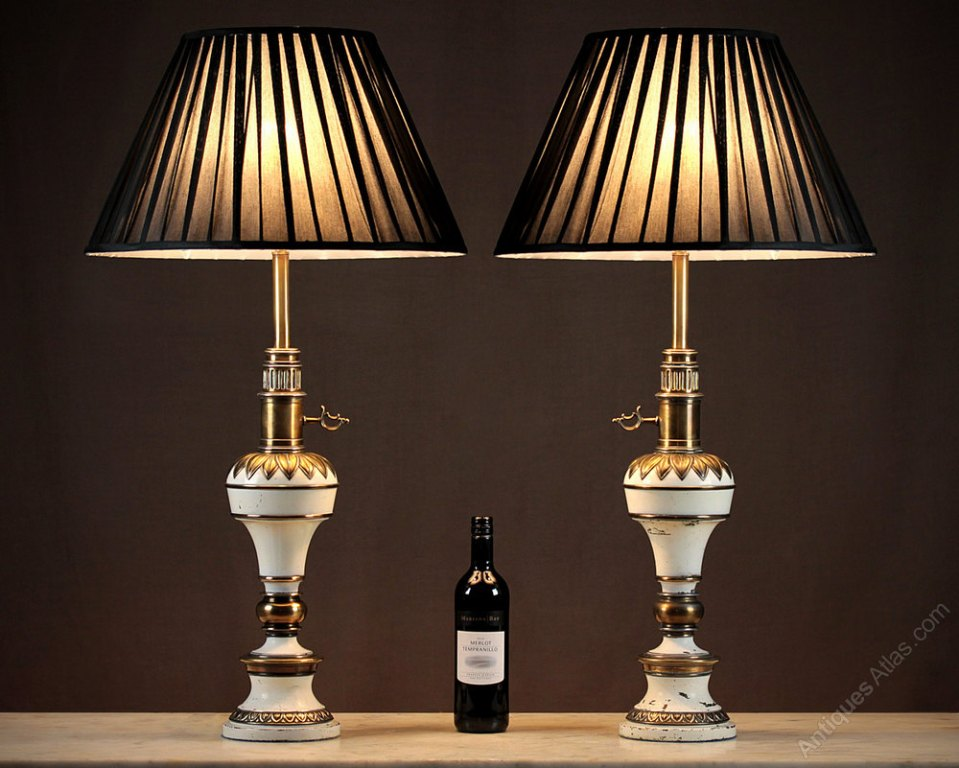 Picture of: maroon and brass table lamps