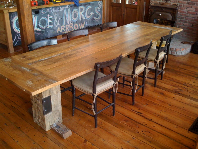Picture of: perfect salvaged wood dining table