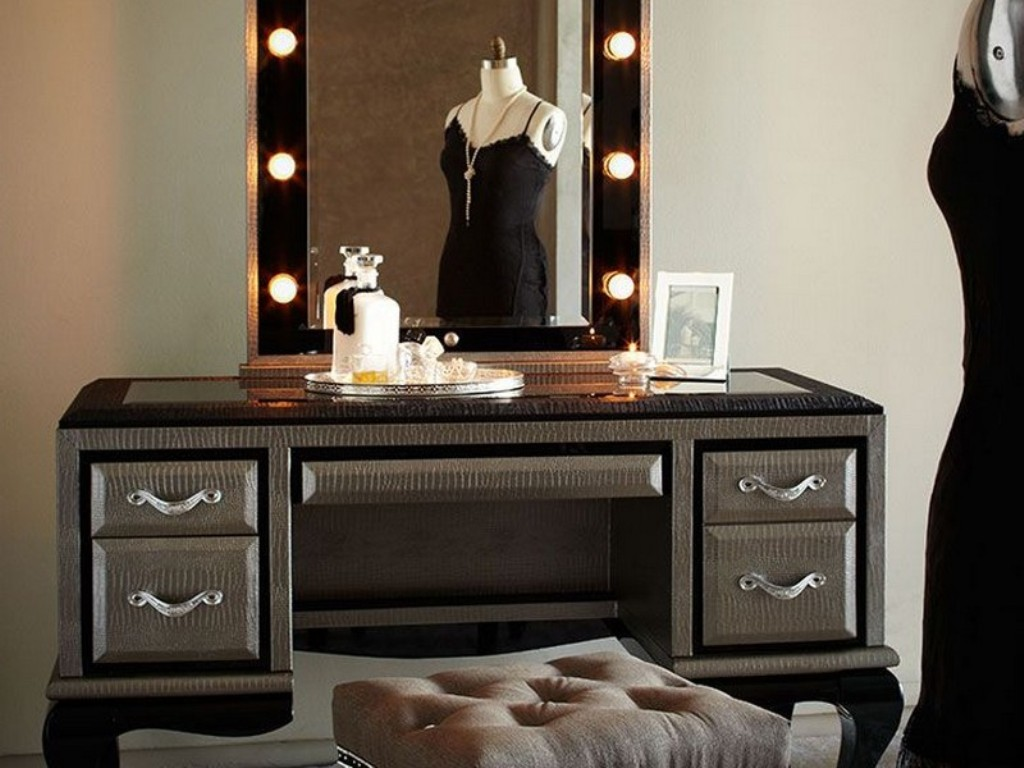 Picture of: Makeup Vanity Table with Lights and Sounds