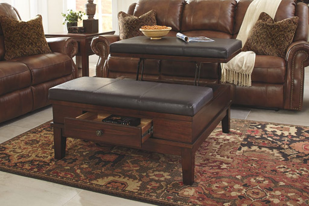 Picture of: Leather Ottoman Coffee Table Ashley Furniture