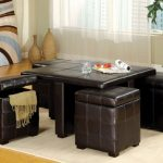 Leather Ottoman Coffee Table Combo