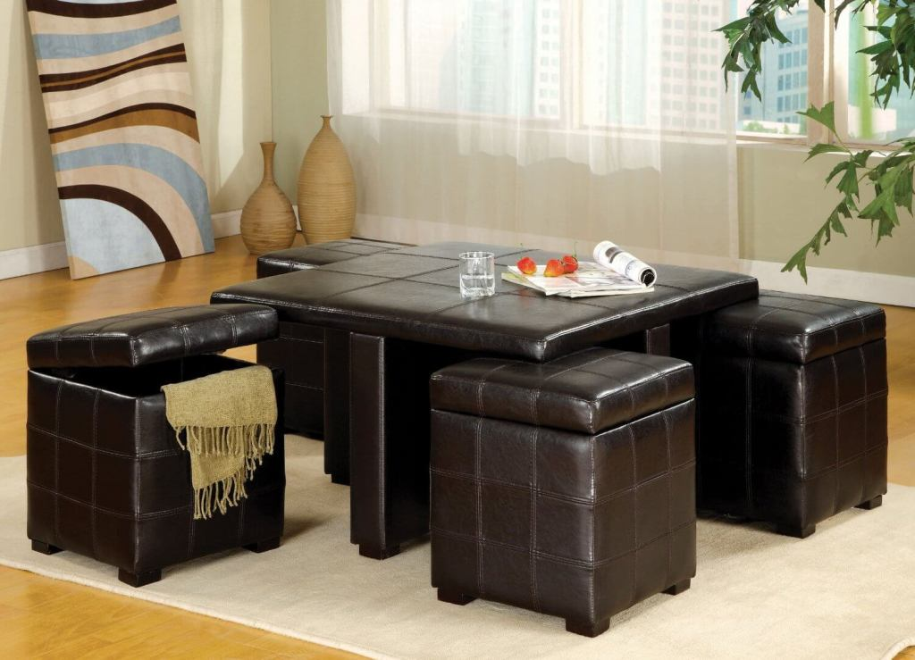 Picture of: Leather Ottoman Coffee Table Combo