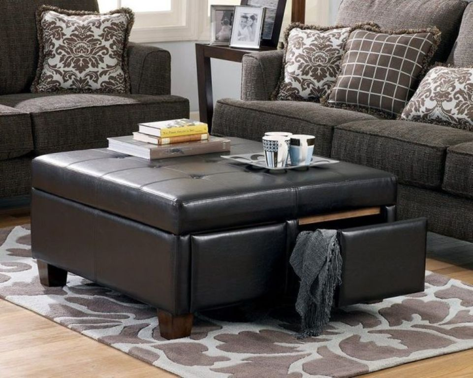 Picture of: Leather Ottoman Coffee Table Ikea