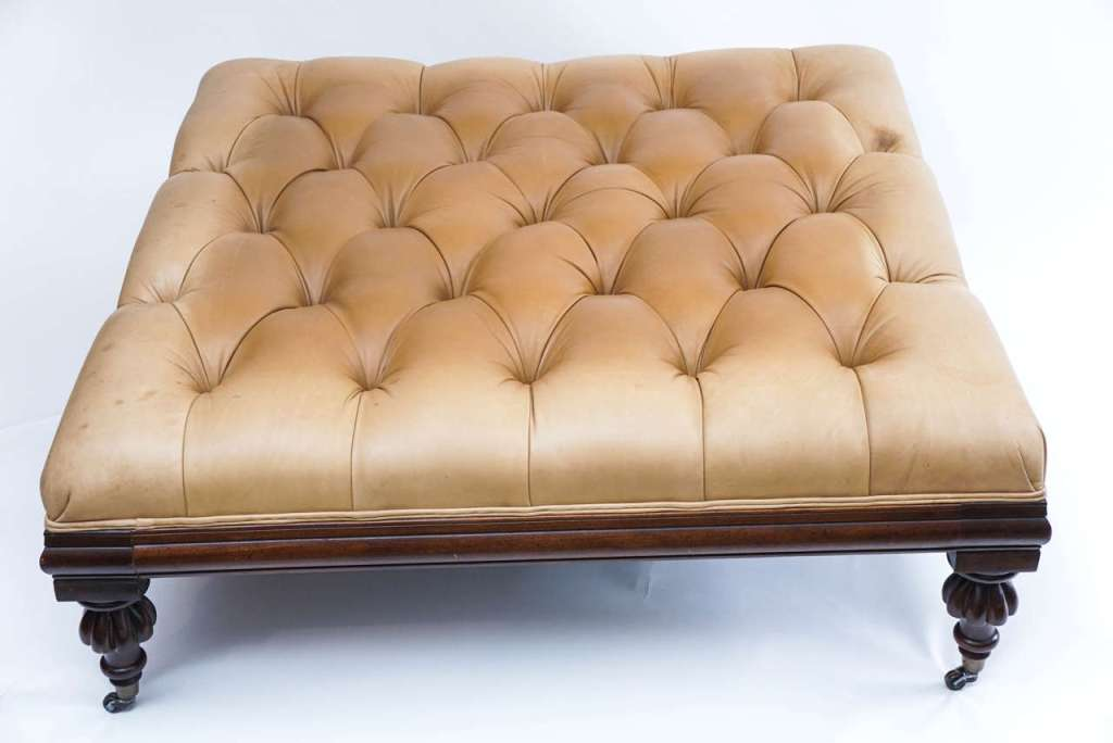 Picture of: Leather Ottoman Coffee Table With Casters